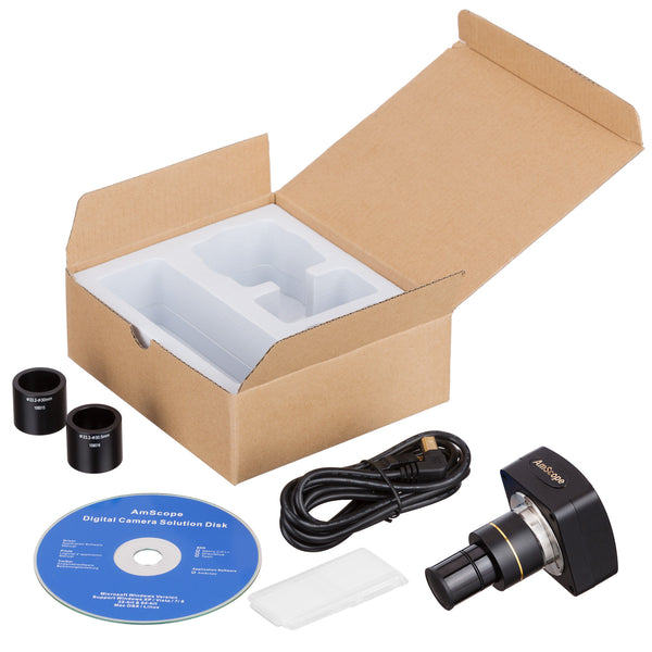 5MP USB 2.0 Color CMOS C-Mount Microscope Camera with Reduction Lens and Calibration Slide