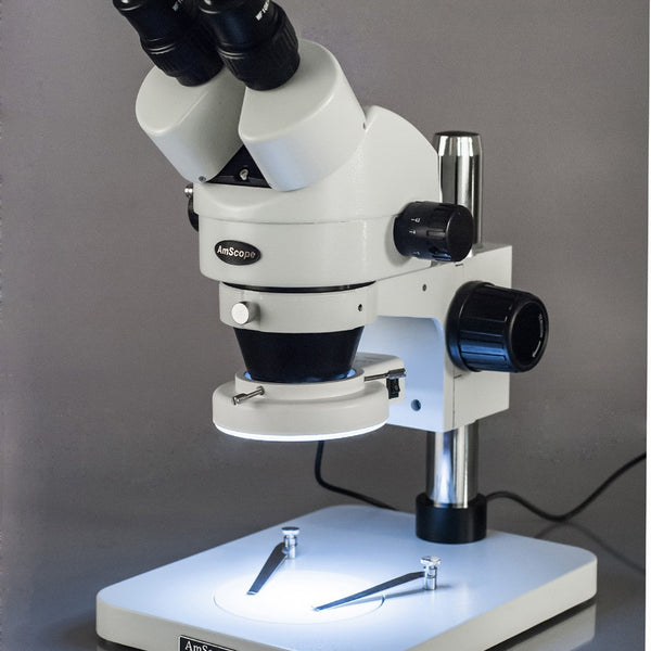 3.5X-45X Super Widefield Dissecting Zoom Stereo Microscope + 144-LED Ring Light