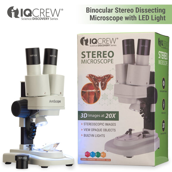 IQCrew 20X Portable LED Stereo Microscope