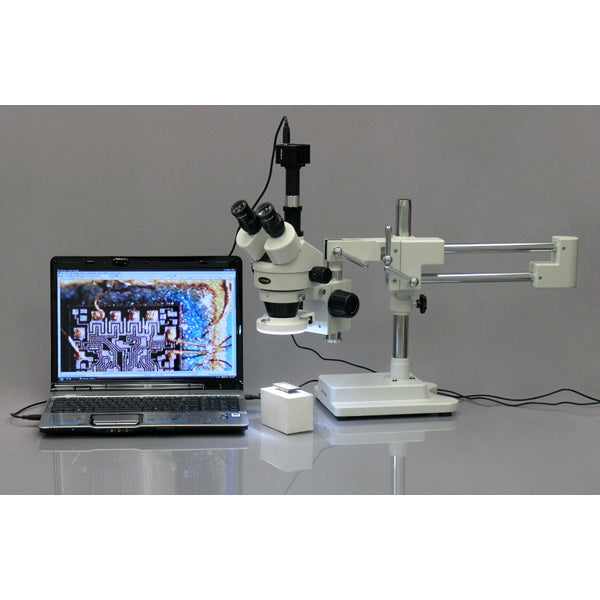 3.5X-90X Circuit Inspection Trinocular Zoom Stereo Microscope with 56-LED Light