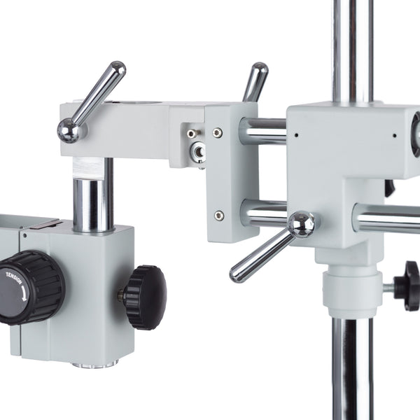 7X-45X Simul-Focal Stereo Lockable Zoom Microscope on Dual Arm Boom Stand