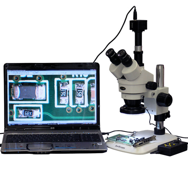 3.5X-90X Zoom Stereo Microscope w 10MP Camera + 144-LED 4-Zone Light