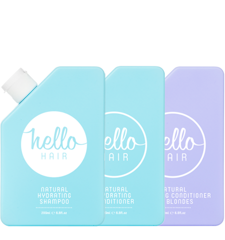 Hello Hair Natural Hydrating Shampoo + Conditioner Mixed Trio