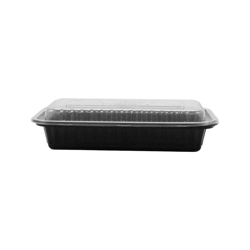 Black Base Rectangular Container 28 oz with Lids