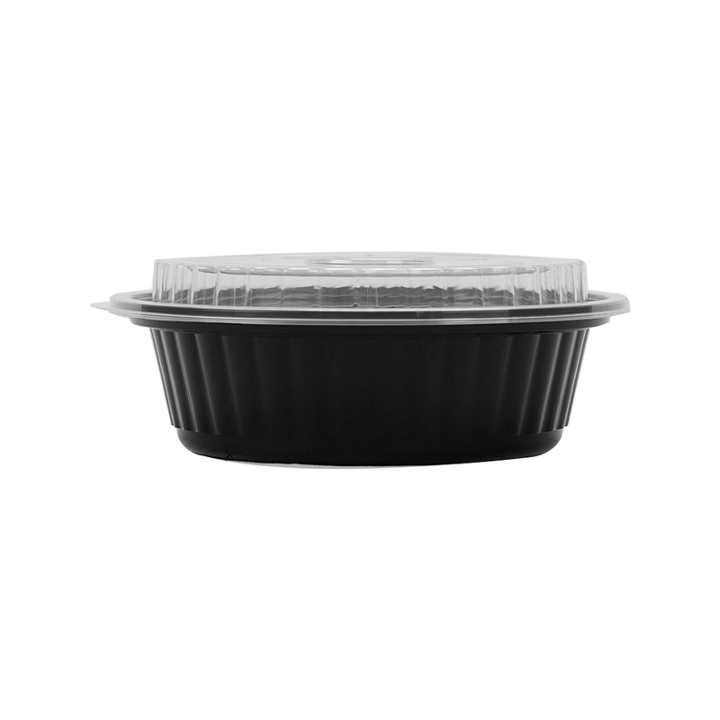 Black Base Round Container 16 oz with Lids