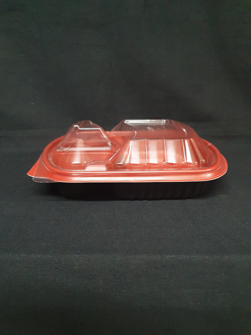 Black and Red Base Container 3 Compartments