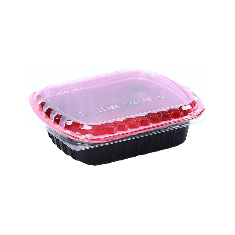 Red & Black Base Container 800 ML with Lids. Microwavable