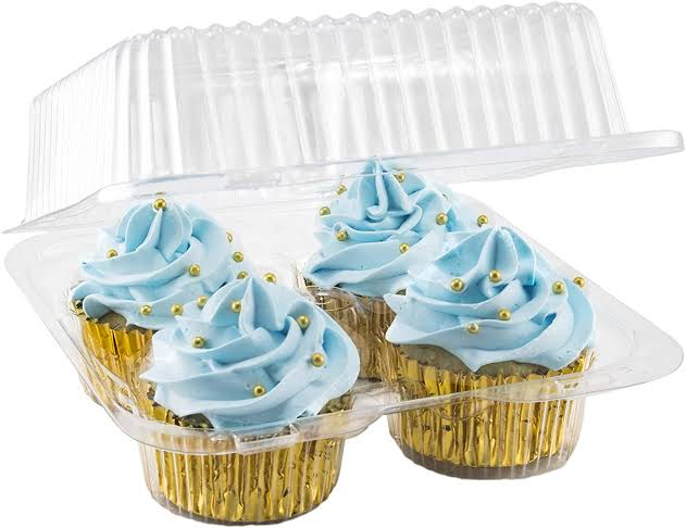 Clear Plastic Cup Cake Container. 4 - Compartment