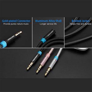 Audio Extension Cable (3m/10ft), Vention 3.5mm Stereo Male-to-Female Extension Cable, Cotton Braided, Black