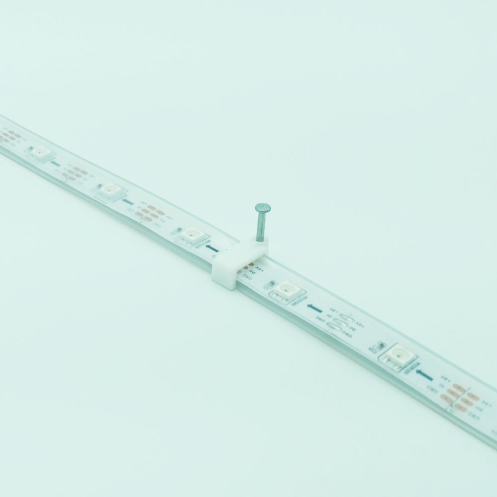 LED Strip Mounting Brackets (quantity 100), for 12mm Silicone Sleeve WS2812B, White with Nails
