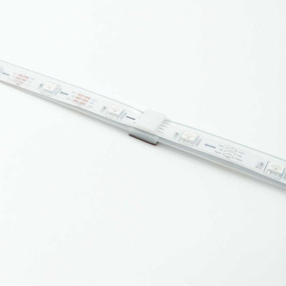 LED Strip Mounting Brackets (quantity 50), for 12mm Silicone Sleeve WS2812B, White Self-Adhesive