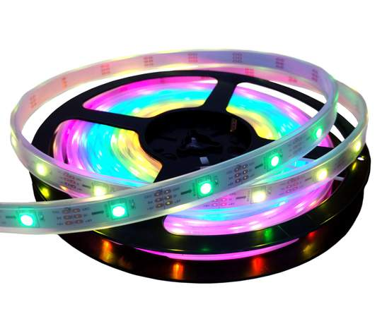 Visual Vibes WS2812B LED Strip, 5 Meter, 150 LEDs, 30 LED/m, 5 Volt, IP67 Waterproof Silicone Sleeve, White PCB