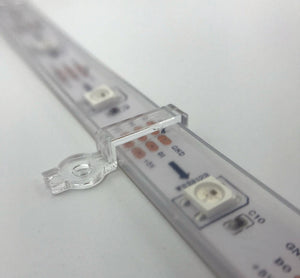 LED Strip Mounting Brackets (quantity 100), for 12mm Silicone Sleeve WS2812B, Clear with Screws