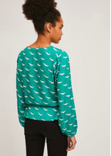 Load image into Gallery viewer, Green V-Neck Print Top