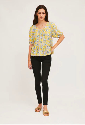 Puff-Sleeve Top with Wild Flower Print