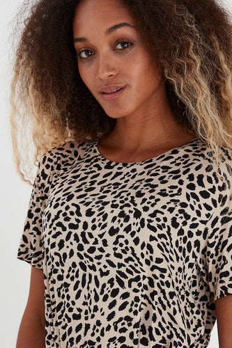 Animal Print Crew Neck T-Shirt