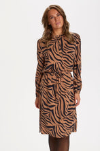 Load image into Gallery viewer, Pecan Zebra Print Dress