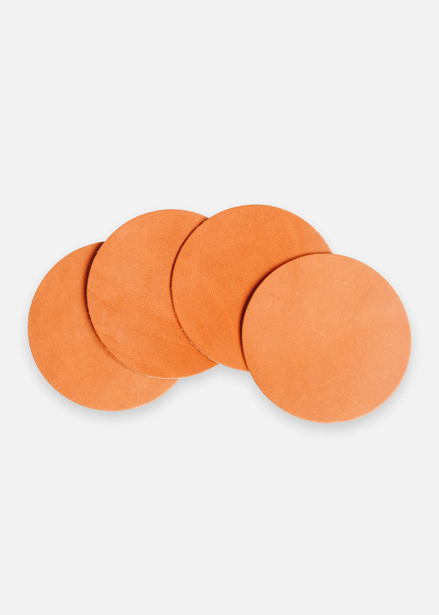 Tan Tangerine Coaster Set in Latigo