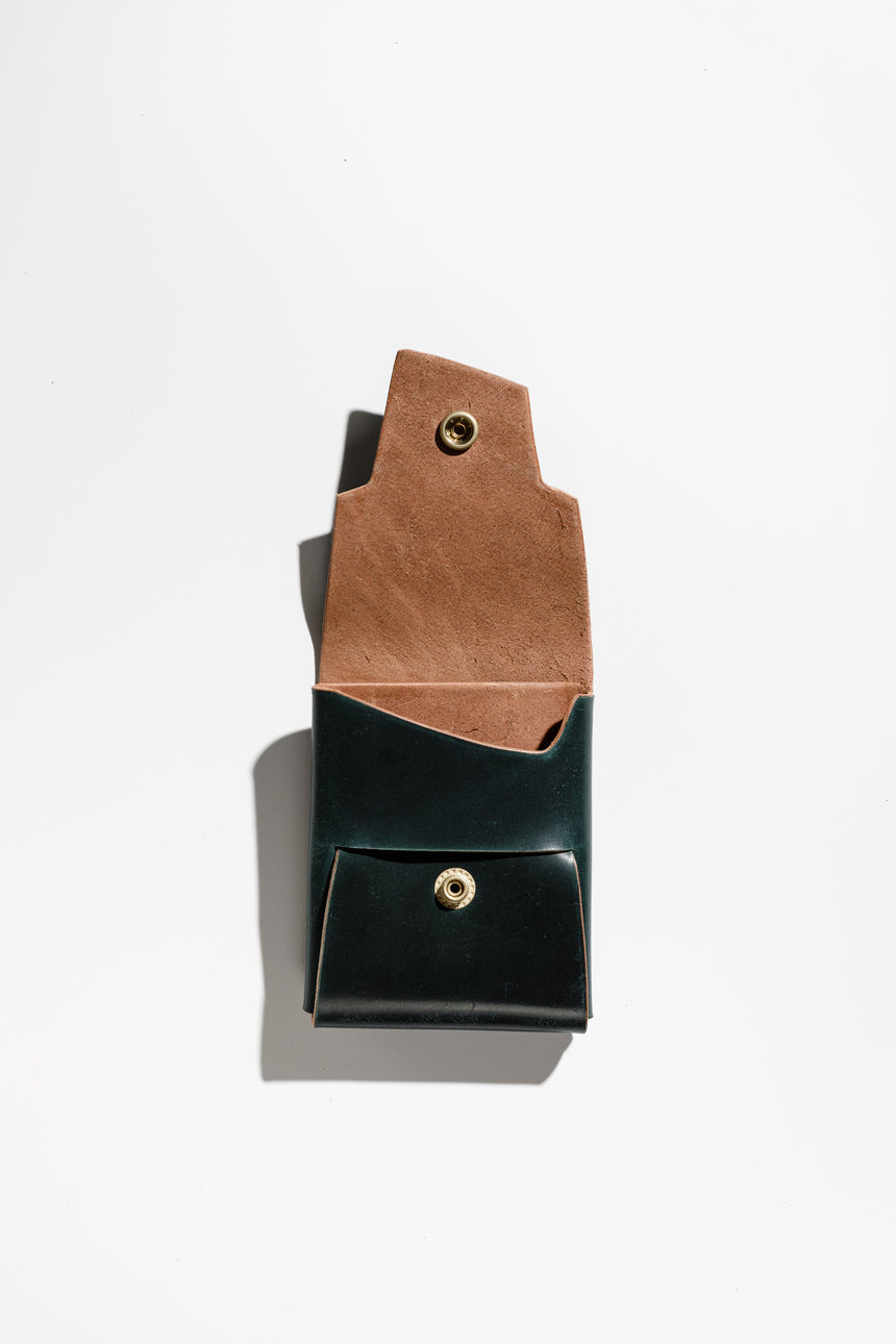 British Racing Green in Shell Cordovan-Wallet-Koshū Brand-Polished Brass-Koshu Brand