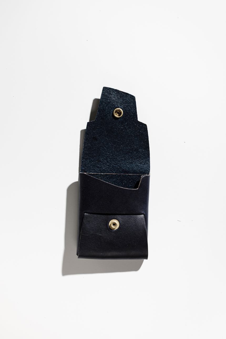 Deep Navy in Latigo-Wallet-Koshū Brand-Polished Brass-Koshu Brand