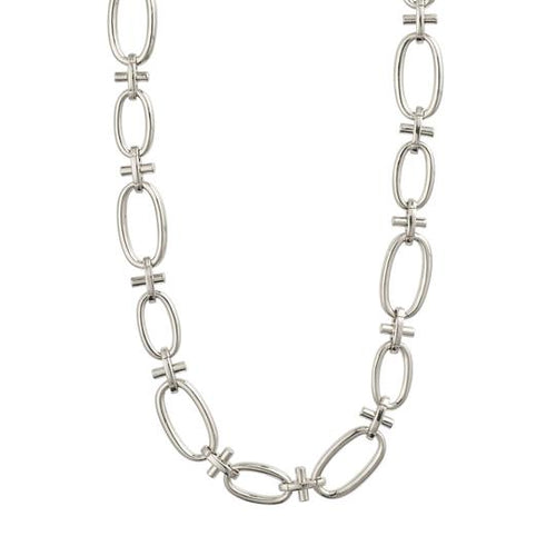 PILGRIM WISDOM SILVER CHAIN LINK NECKLACE