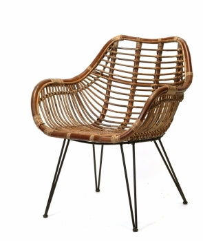 Dark rattan chair, black metal legs