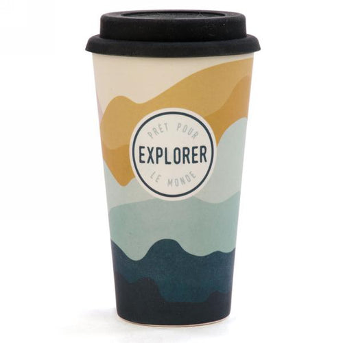 Travel mug in bamboo ''Prêt pour Explorer Le Monde ''