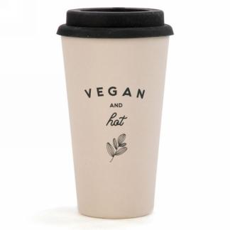 Travel mug in bamboo ''Vegan & Hot