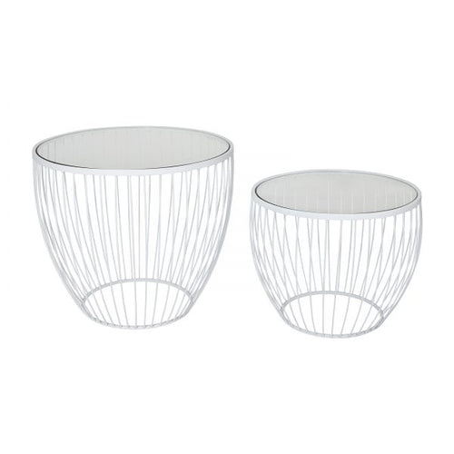 Cyclone Glass Accent Tables - Matt White