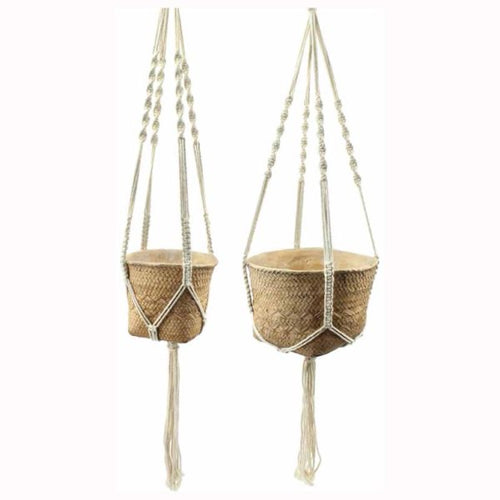 Hanging Basket, cement with macrame