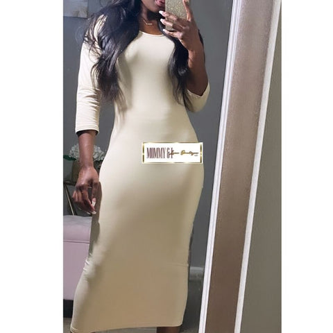 Basic Midi Dress (Nude)