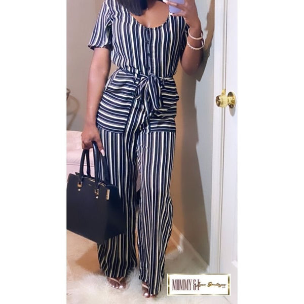 Stripe Jumpsuit (Black and White)