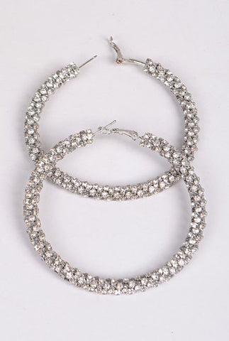 Rhinestone Hoop Earrings (Sliver)