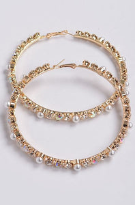 Rhinestone Pearl Beads Hoop Earrings (Gold)