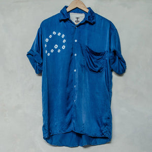 Indigo Heritage Chinese Silk Shibori Grandfather Shirt