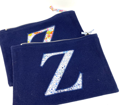 Ready to post Liberty personalised zip bag letter Z