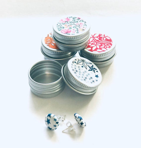 Liberty print earrings in a tin