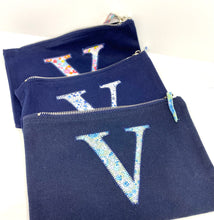 Load image into Gallery viewer, Ready to post Liberty personalised zip bag letter V