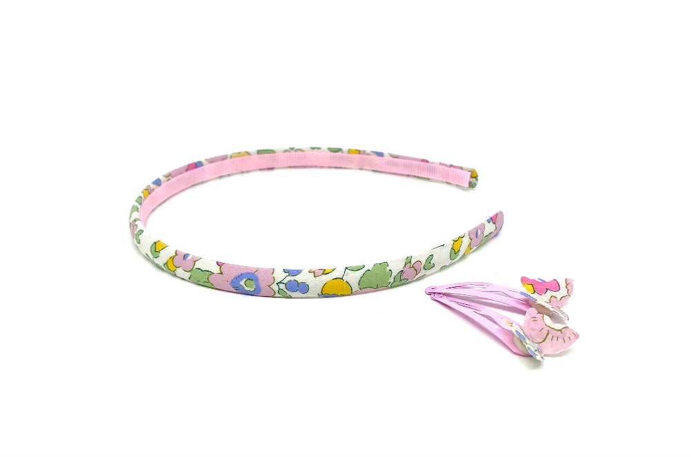 Special edition Liberty skinny head band and matching butterfly clips
