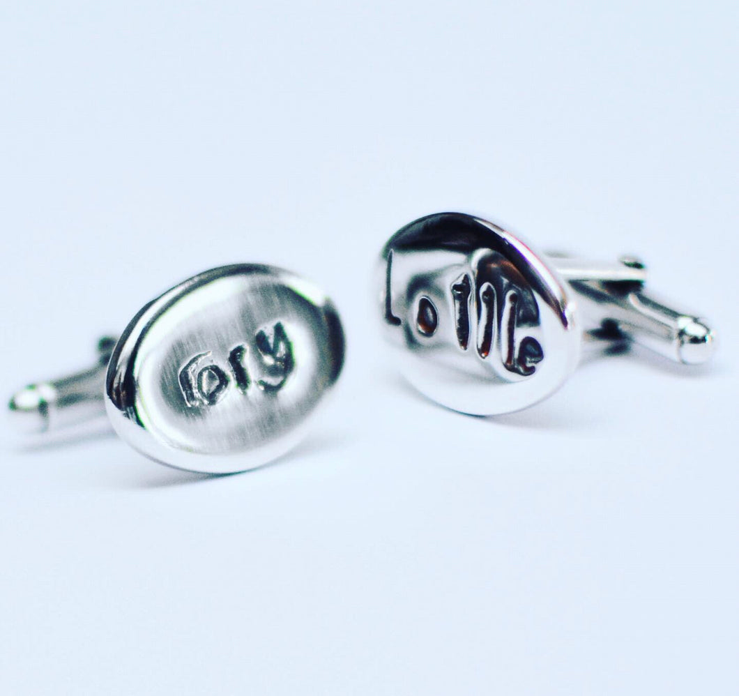 Bespoke sterling silver personalised signature cufflinks