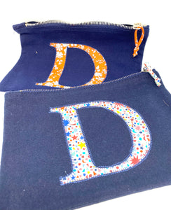 Ready to post Liberty personalised zip bag letter D
