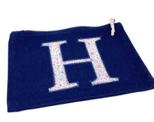 Load image into Gallery viewer, Ready to post Liberty personalised zip bag letter H