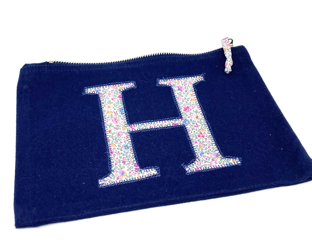Ready to post Liberty personalised zip bag letter H