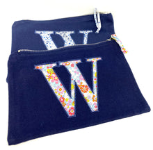 Load image into Gallery viewer, Ready to post Liberty personalised zip bag letter X