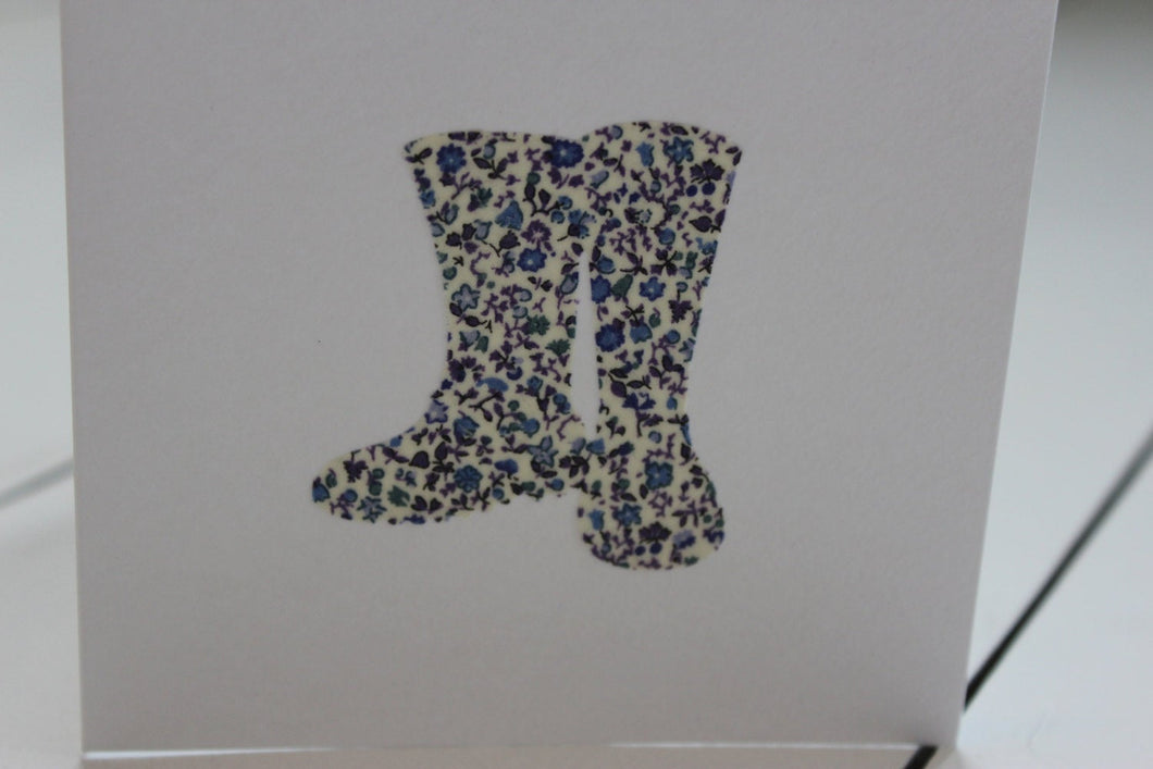Liberty wellington boots card - blank 4