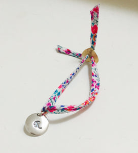Liberty bracelet with PMC sterling silver initial charm finished off with a pearl button