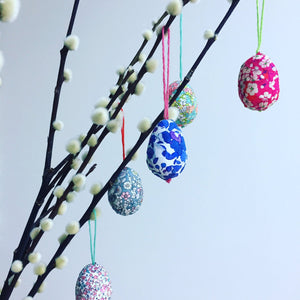 Trio of mini Liberty Easter egg decorations