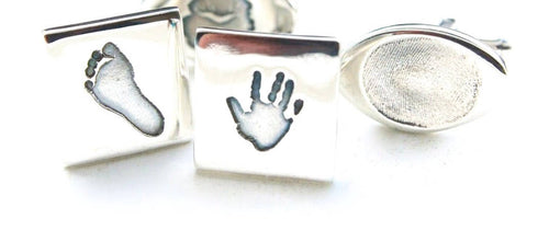Bespoke sterling silver handprint cufflinks - footprint cufflinks