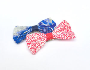 Liberty fabric bow on barrette hair clip