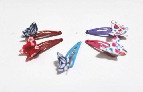 READY TO POST Liberty butterflies on green snap hair clips